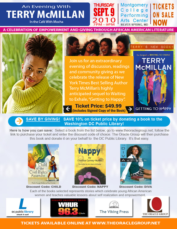 An evening with Ny Times Best Selling Author Terry McMillan
