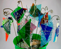 Wire-Wrapped Rocks & Broken Glass Ornaments