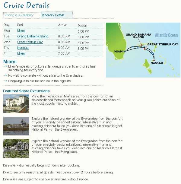 Cruise Details and Itinerary