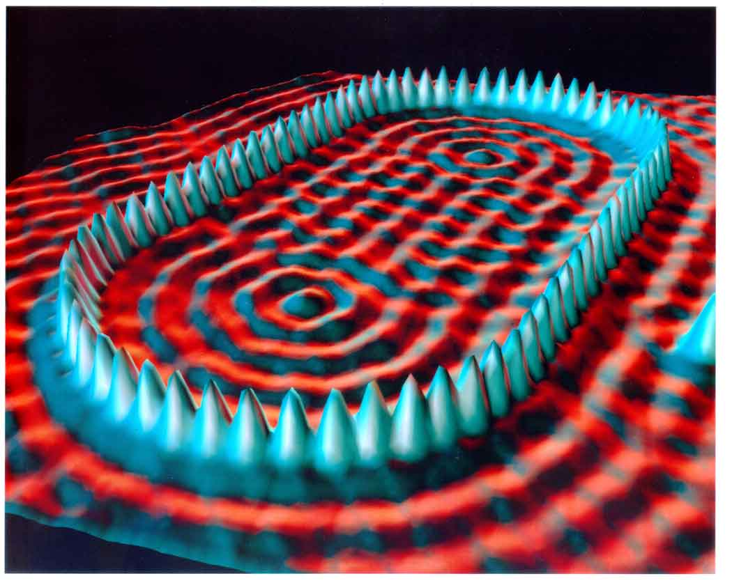 This image shows how an STM is used to position 48 iron atoms.