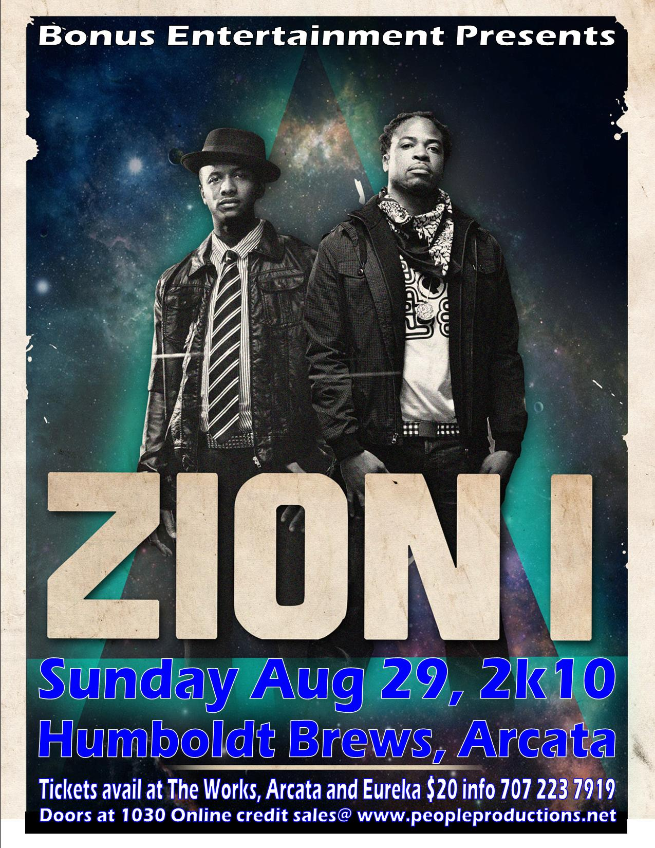 ZION I Sun Aug 29, Humboldt Brews