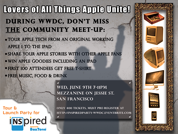 Lovers of All Things Apple Unite! During WWDC, Don't Miss THE Community Meet-up. Tour Apple Tech from an Original Working Apple I to latest iPad. Share Stories with New Friends. Free Prizes, Music, Food & Drink! Register now only 400 Tix available!