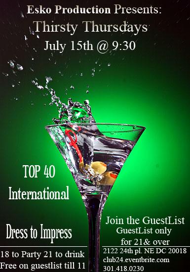 Thirsty Thursday @ Club 24 in Washington, DC - Jul 15 ...