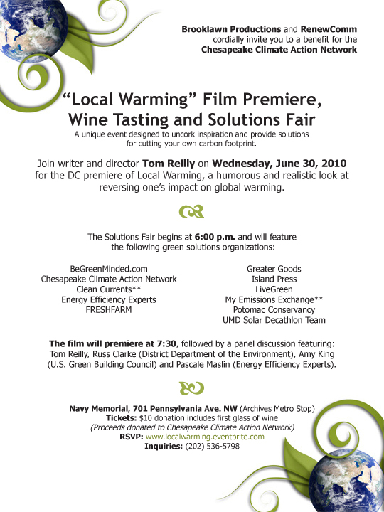 local warming film premiere, wine tasting and solutions fair invite