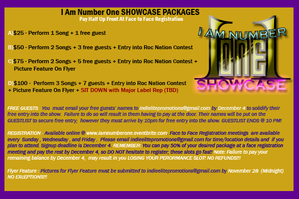 I AM NUMBER ONE SHOWCASE PACKAGES