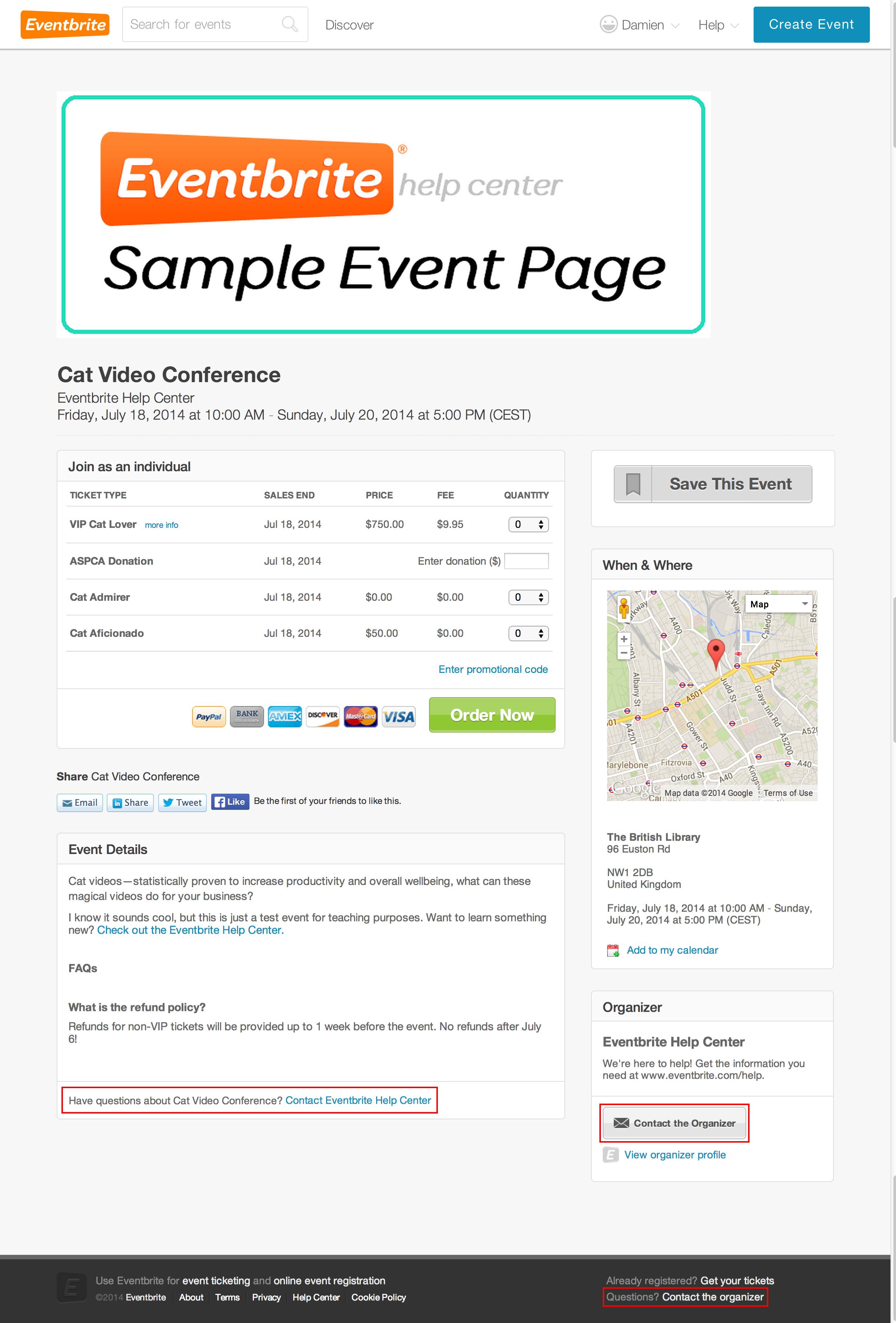 Nell'intestazione, più di pagina, dettagli dell'evento e nella barra laterale destra dell'evento sono disponibili diversi link per contattare l'organizzatore dell'evento.