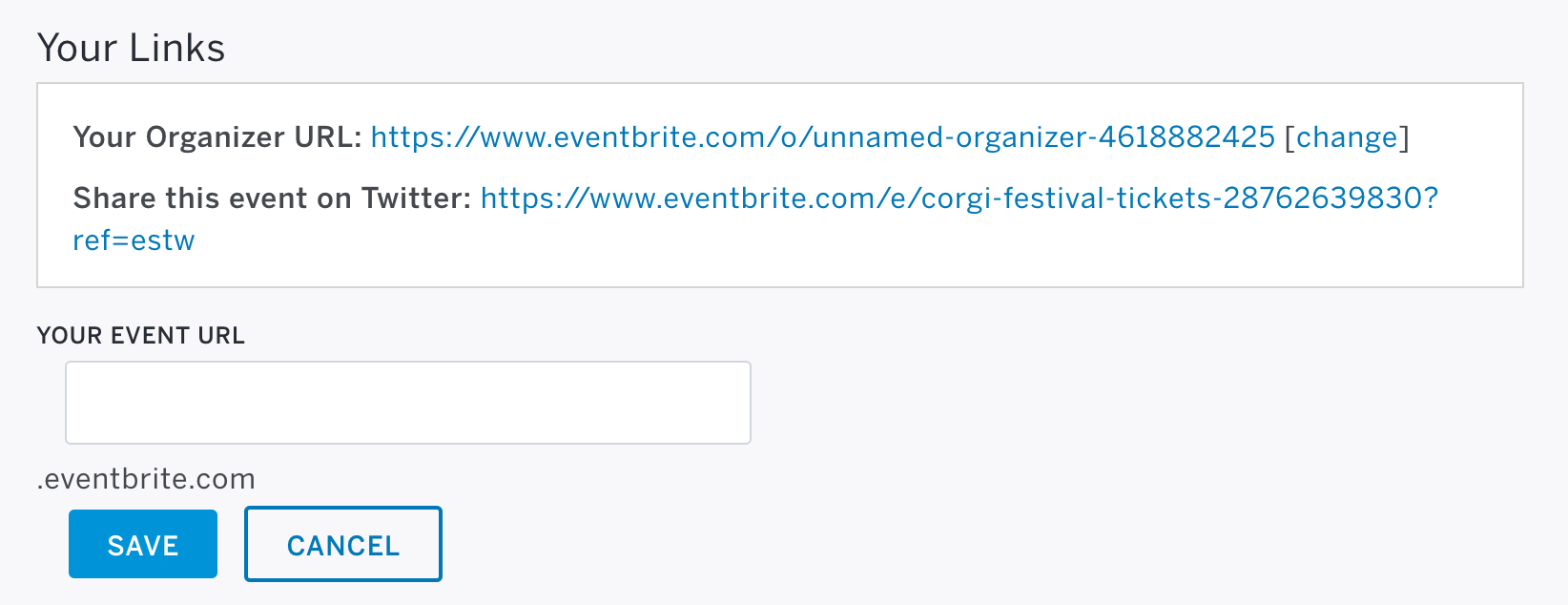 Your custom URL is located to the right of the Event Dashboard title.